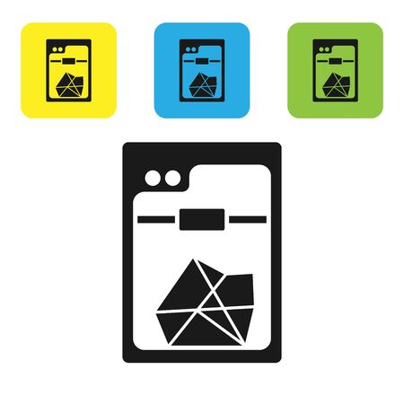 Black 3D printer icon isolated on white background. Set icons colorful square buttons. Vector Illustration