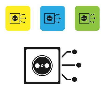 Black Smart home icon isolated on white background. Remote control. Set icons colorful square buttons. Vector Illustration 向量圖像
