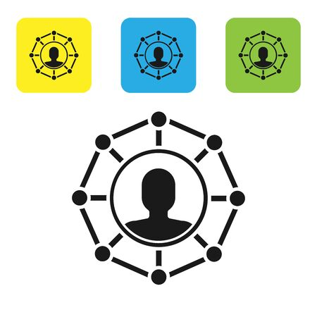 Black Project team base icon isolated on white background. Business analysis and planning, team work, project management. Developers. Set icons colorful square buttons. Vector Illustration
