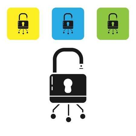 Black Cyber security icon isolated on white background. Closed padlock on digital circuit board. Safety concept. Digital data protection. Set icons colorful square buttons. Vector Illustration Ilustracja