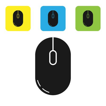 Black Computer mouse icon isolated on white background. Optical with wheel symbol. Set icons colorful square buttons. Vector Illustration