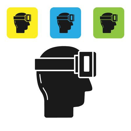 Black Virtual reality glasses icon isolated on white background. Stereoscopic 3d vr mask. Set icons colorful square buttons. Vector Illustration