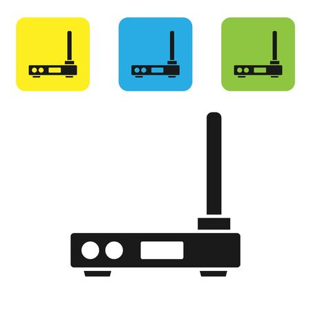 Black Router and wifi signal symbol icon isolated on white background. Wireless modem router. Computer technology internet. Set icons colorful square buttons. Vector Illustration