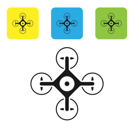 Black Drone flying with action video camera icon isolated on white background. Quadrocopter with video and photo camera symbol. Set icons colorful square buttons. Vector Illustration