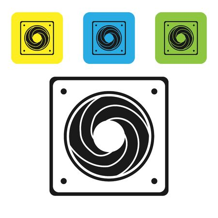 Black Computer cooler icon isolated on white background. PC hardware fan. Set icons colorful square buttons. Vector Illustration Illustration