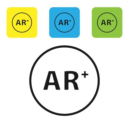 Black Ar, augmented reality icon isolated on white background. Set icons colorful square buttons. Vector Illustration