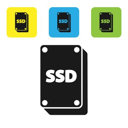 Black SSD card icon isolated on white background. Solid state drive sign. Storage disk symbol. Set icons colorful square buttons. Vector Illustration