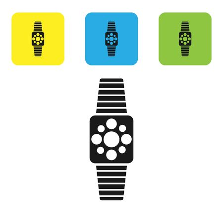 Black Smartwatch icon isolated on white background. Set icons colorful square buttons. Vector Illustration