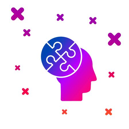 Color Human head puzzles strategy icon isolated on white background. Thinking brain sign. Symbol work of brain. Gradient random dynamic shapes. Vector Illustration