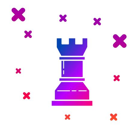 Color Business strategy icon isolated on white background. Chess symbol. Game, management, finance. Gradient random dynamic shapes. Vector Illustration 向量圖像