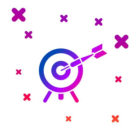 Color Target with arrow icon isolated on white background. Dart board sign. Archery board icon. Dartboard sign. Business goal concept. Gradient random dynamic shapes. Vector Illustration Illusztráció