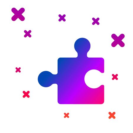 Color Piece of puzzle icon isolated on white background. Modern flat, business, marketing, finance, internet concept. Gradient random dynamic shapes. Vector Illustration