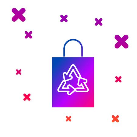 Color Plastic bag with recycle icon isolated on white background. Bag with recycling symbol. Gradient random dynamic shapes. Vector Illustration Ilustração