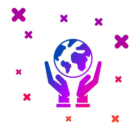 Color Human hands holding Earth globe icon isolated on white background. Save earth concept. Gradient random dynamic shapes. Vector Illustration