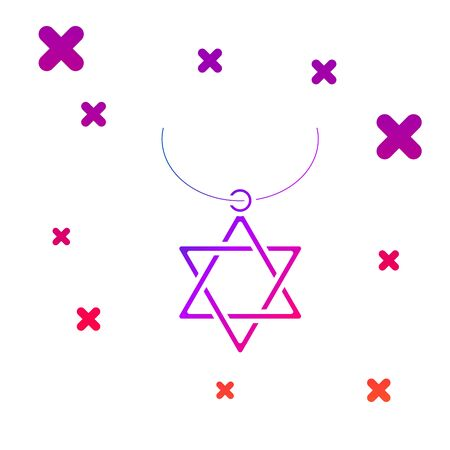 Color Star of David necklace on chain icon isolated on white background. Jewish religion symbol. Symbol of Israel. Jewellery and accessory. Gradient random dynamic shapes. Vector Illustration Çizim