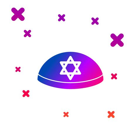 Color Jewish kippah with star of david icon isolated on white background. Jewish yarmulke hat. Gradient random dynamic shapes. Vector Illustration