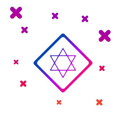 Color Star of David icon isolated on white background. Jewish religion symbol. Symbol of Israel. Gradient random dynamic shapes. Vector Illustration