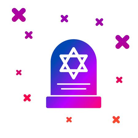 Color Tombstone with star of david icon isolated on white background. Jewish grave stone. Gravestone icon. Gradient random dynamic shapes. Vector Illustration