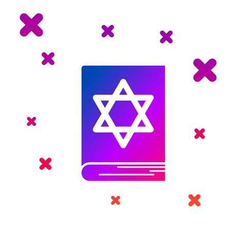 Color Jewish torah book icon isolated on white background. Pentateuch of Moses. On the cover of the Bible is the image of the Star of David. Gradient random dynamic shapes. Vector Illustration