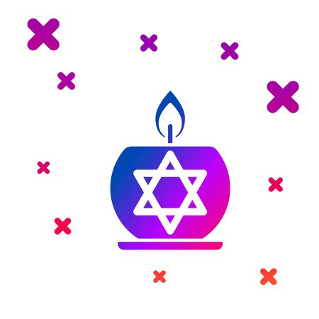 Color Burning candle in candlestick with star of david icon isolated on white background. Cylindrical candle stick with burning flame. Gradient random dynamic shapes. Vector Illustration