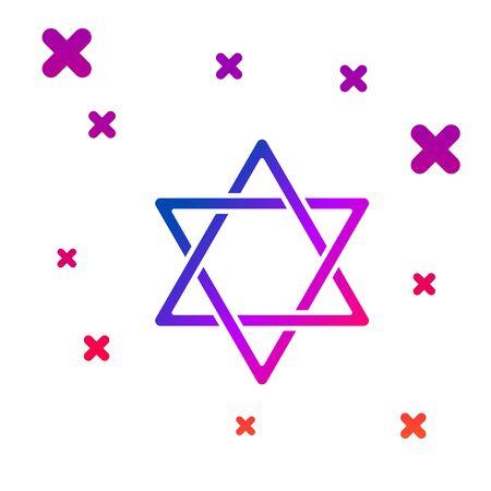 Color Star icon isolated on white background. Jewish religion symbol. Symbol of Israel. Gradient random dynamic shapes. Vector Illustration Illustration
