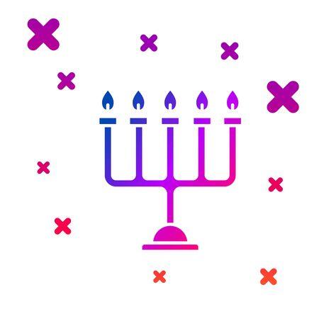 Color Hanukkah menorah icon isolated on white background. Hanukkah traditional symbol. Holiday religion, jewish festival of Lights. Gradient random dynamic shapes. Vector Illustration Çizim