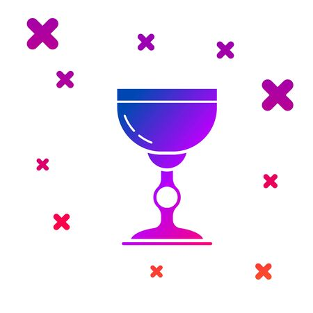 Color Jewish goblet icon isolated on white background. Jewish wine cup for kiddush. Kiddush cup for Shabbat. Gradient random dynamic shapes. Vector Illustration