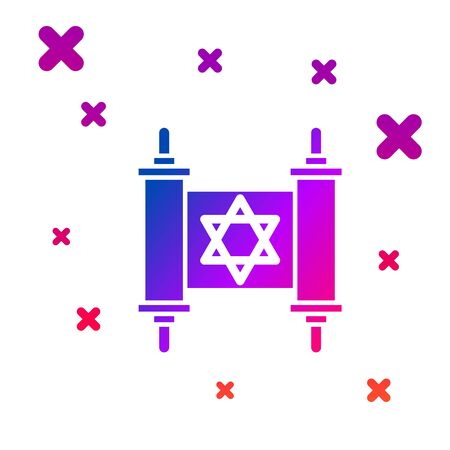 Color Torah scroll icon isolated on white background. Jewish Torah in expanded form. Star of David symbol. Old parchment scroll. Gradient random dynamic shapes. Vector Illustration Çizim