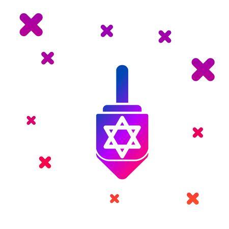 Color Hanukkah dreidel icon isolated on white background. Gradient random dynamic shapes. Vector Illustration