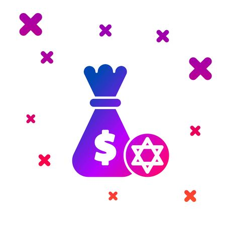 Color Jewish money bag with star of david and coin icon isolated on white background. Currency symbol. Gradient random dynamic shapes. Vector Illustration