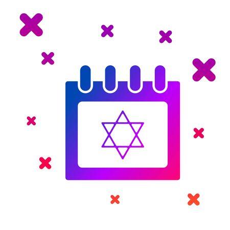 Color Jewish calendar with star of david icon isolated on white background. Hanukkah calendar day. Gradient random dynamic shapes. Vector Illustration Çizim