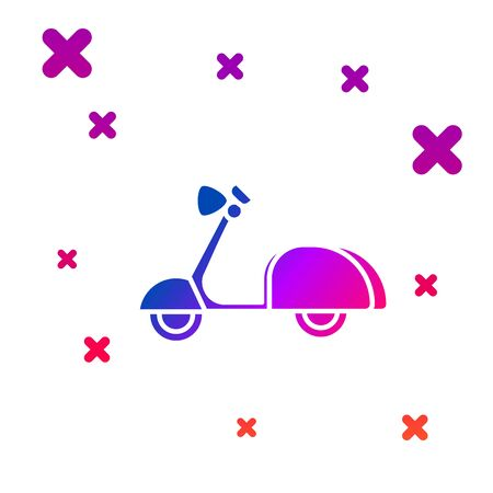 Color Scooter icon isolated on white background. Gradient random dynamic shapes. Vector Illustration Иллюстрация