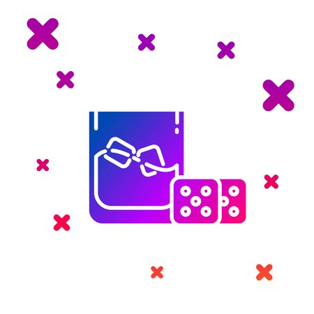 Color Game dice and glass of whiskey with ice cubes icon isolated on white background. Casino gambling. Gradient random dynamic shapes. Vector Illustration