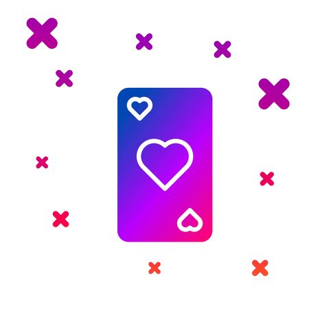 Color Playing card with heart symbol icon isolated on white background. Casino gambling. Gradient random dynamic shapes. Vector Illustration 일러스트