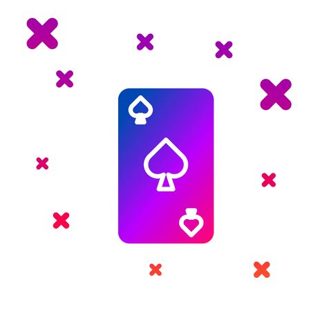 Color Playing card with spades symbol icon isolated on white background. Casino gambling. Gradient random dynamic shapes. Vector Illustration