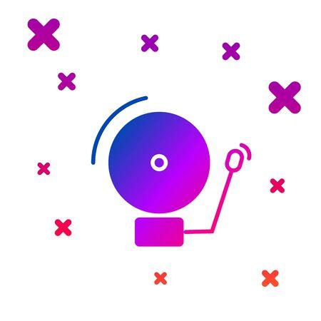 Color Ringing alarm bell icon isolated on white background. Alarm symbol, service bell, handbell sign, notification symbol. Gradient random dynamic shapes. Vector Illustration Illustration