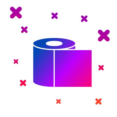 Color Toilet paper roll icon isolated on white background. Gradient random dynamic shapes. Vector Illustration Ilustracja