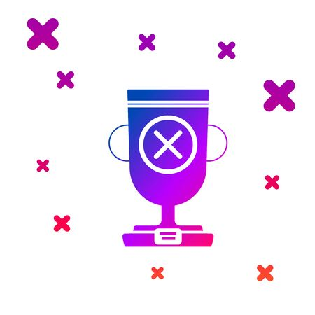 Color Award cup icon isolated on white background. Winner trophy symbol. Championship or competition trophy. Sports achievement sign. Gradient random dynamic shapes. Vector Illustration