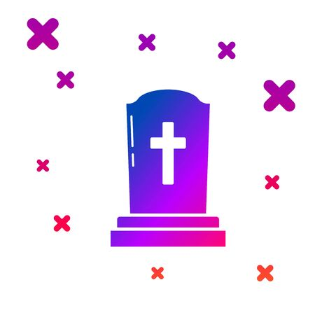 Color Tombstone with cross icon isolated on white background. Grave icon. Gradient random dynamic shapes. Vector Illustration