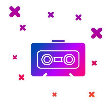 Color Retro audio cassette tape icon isolated on white background. Gradient random dynamic shapes. Vector Illustration Ilustração