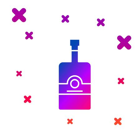Color Whiskey bottle icon isolated on white background. Gradient random dynamic shapes. Vector Illustration 向量圖像