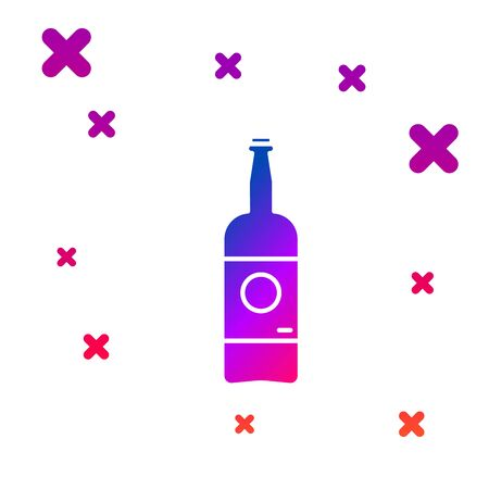 Color Beer bottle icon isolated on white background. Gradient random dynamic shapes. Vector Illustration