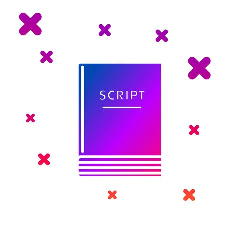 Color Scenario icon isolated on white background. Script reading concept for art project, films, theaters. Gradient random dynamic shapes. Vector Illustration