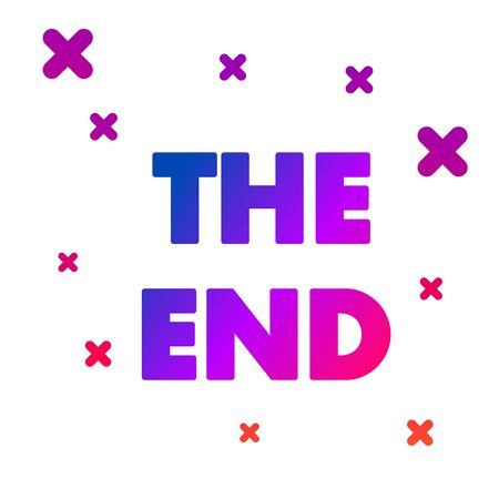 Color The End handwritten inscription icon isolated on white background. Closing movie frame. Movie ending screen. Gradient random dynamic shapes. Vector Illustration