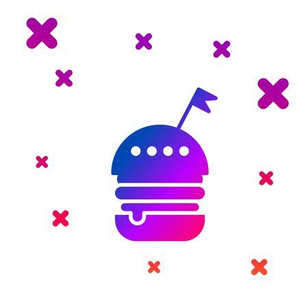 Color Burger icon isolated on white background. Hamburger icon. Cheeseburger sandwich sign. Fast food menu. Gradient random dynamic shapes. Vector Illustration Ilustração