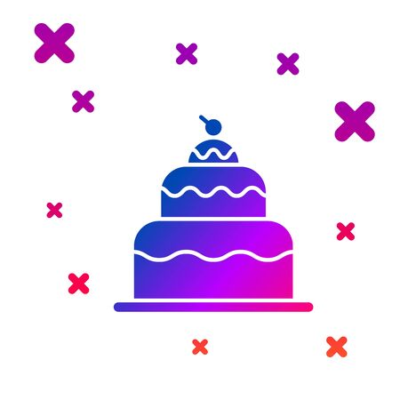 Color Cake icon isolated on white background. Happy Birthday. Gradient random dynamic shapes. Vector Illustration