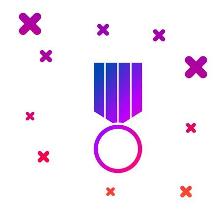 Color Military reward medal icon isolated on white background. Army sign. Gradient random dynamic shapes. Vector Illustration Illustration