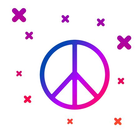 Color Peace icon isolated on white background. Hippie symbol of peace. Gradient random dynamic shapes. Vector Illustration Ilustração