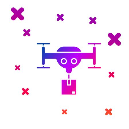 Color Delivery drone with the package icon isolated on white background. Drone delivering cardboard box. Gradient random dynamic shapes. Vector Illustration Ilustração