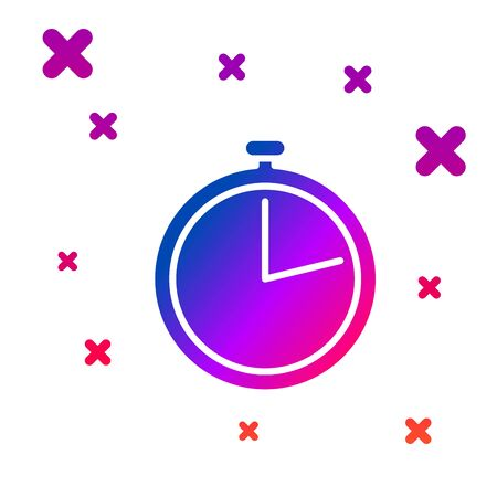 Color Stopwatch icon isolated on white background. Time timer sign. Gradient random dynamic shapes. Vector Illustration